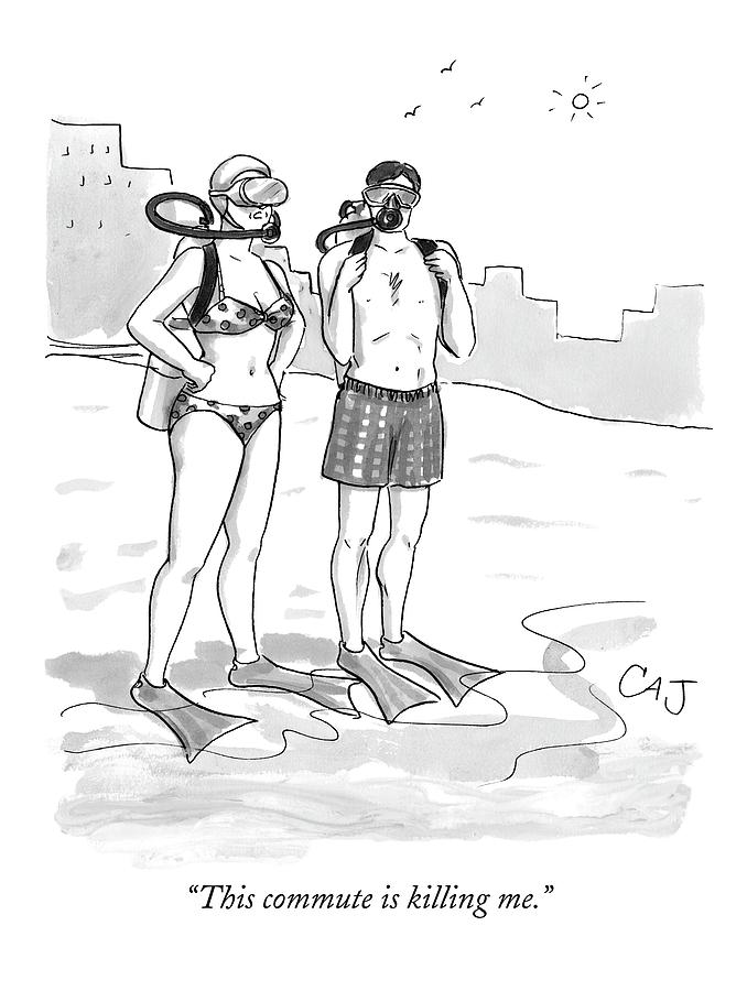 A Man And A Woman In Swimsuits And Diving Gear Drawing by Carolita Johnson