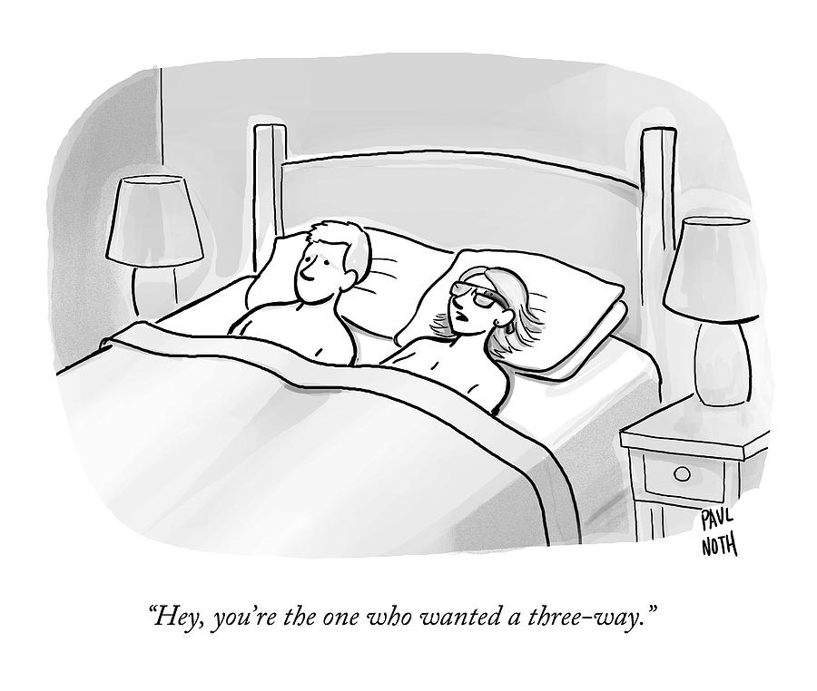 A Man And A Woman Lie In Bed Drawing by Paul Noth