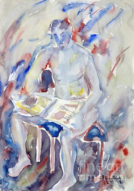 All Painting - A Man And His Book by Phong Trinh