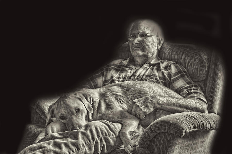 Creative Photograph - A Man And His Dog by Linda Phelps