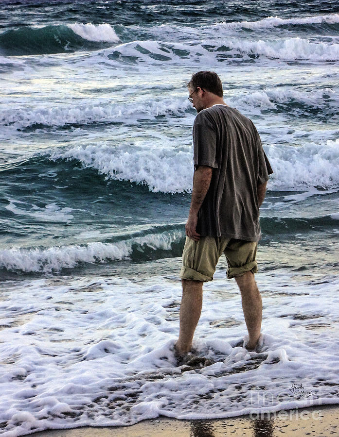 Ocean Photograph - a Man and the Sea by Ginette Callaway