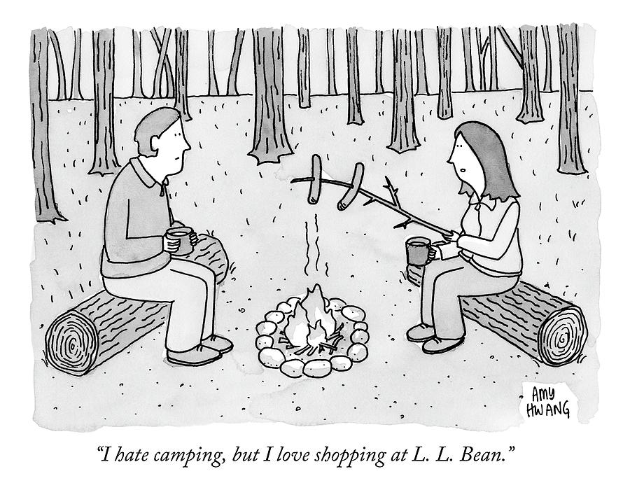 A Man And Woman Are Camping And The Woman Roasts Drawing by Amy Hwang