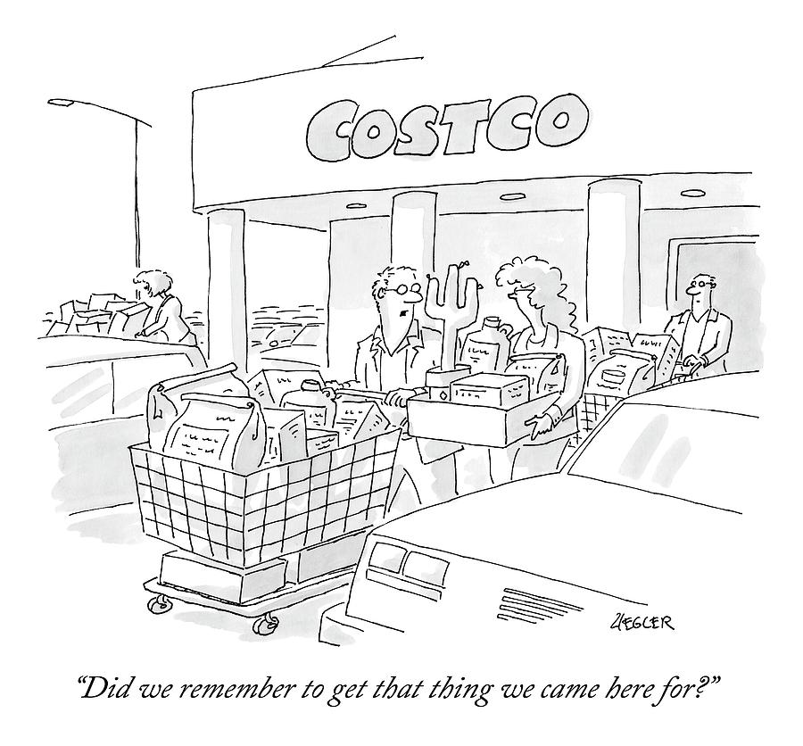 A Man And Woman Leave Costco With A Large Amount Drawing by Jack Ziegler