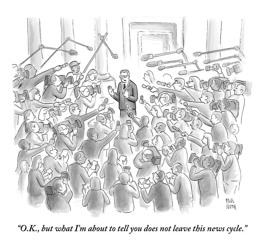 A Man Answers Questions At A Press Conference Drawing by Paul Noth