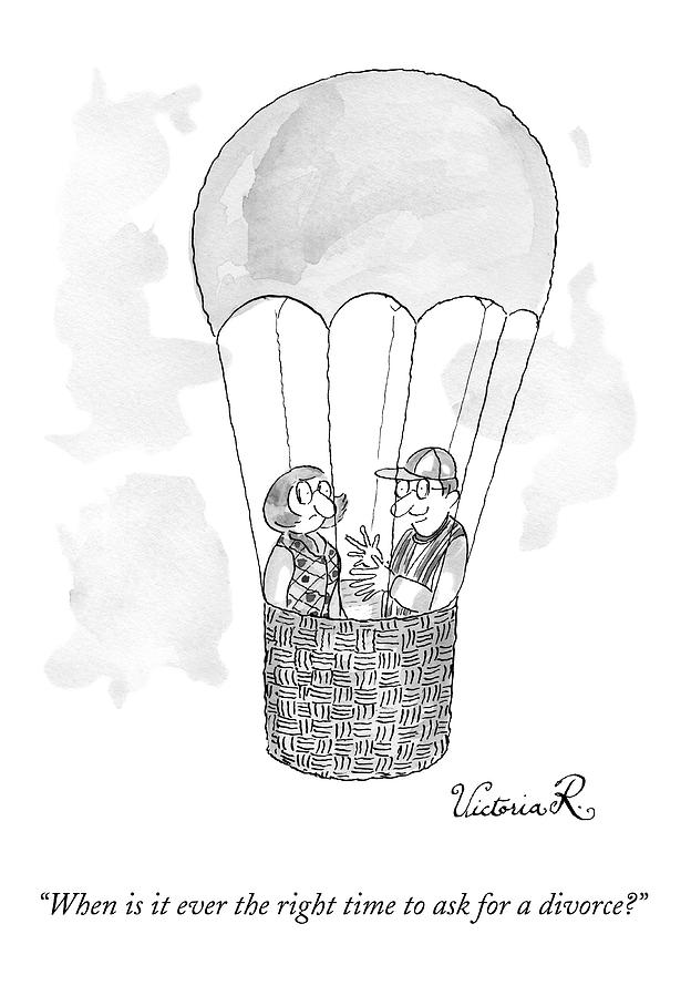 A Man Asks A Woman In A Hot-air Balloon Drawing by Victoria Roberts