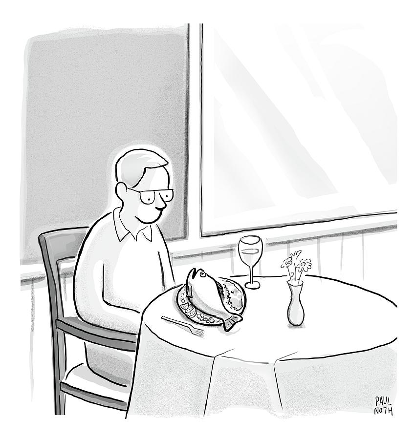 A Man At A Restaurants Looks At The Fish Drawing by Paul Noth