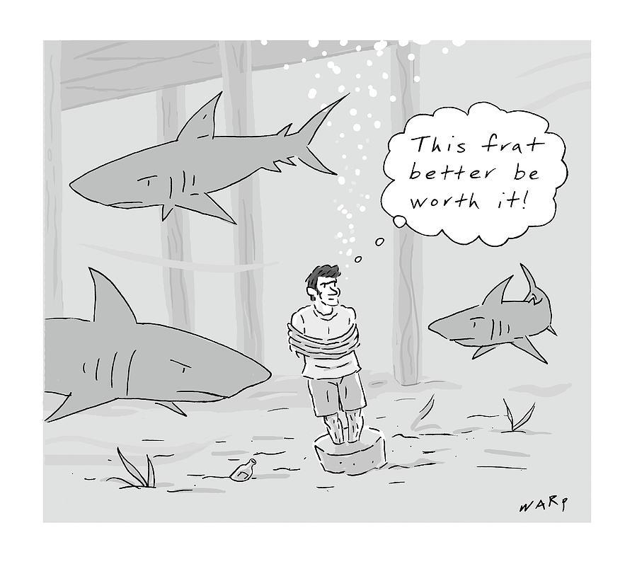 A Man At The Ocean Floor Drawing by Kim Warp