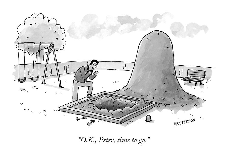 A Man Calling Into A Giant Hole Dug In A Sandbox Drawing by Jason Patterson