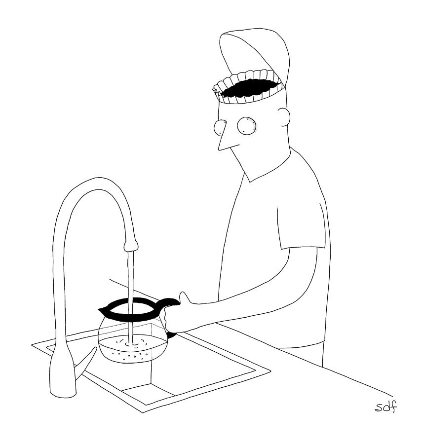 A Man Filling Up His Coffee Pot Drawing by Seth Fleishman
