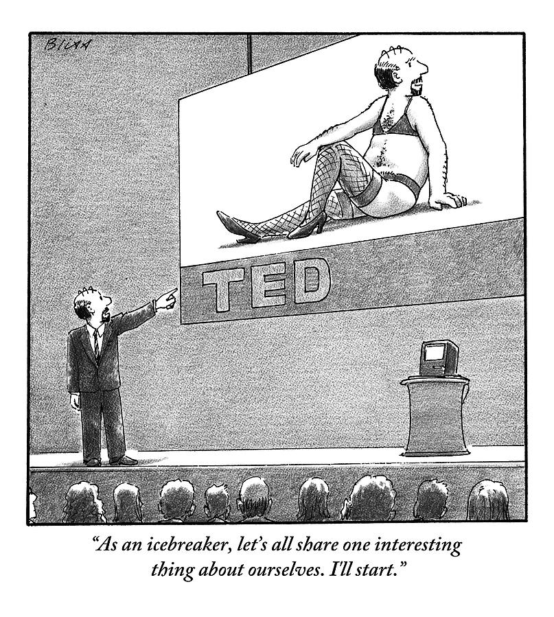 A Man Giving A Ted Presentation Points To An Drawing by Harry Bliss