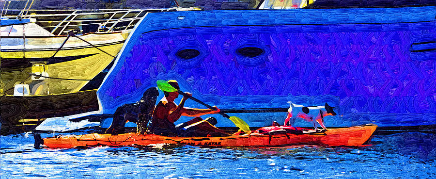 Kayak Painting - A Man His Kayak and His Dogs by Kirt Tisdale