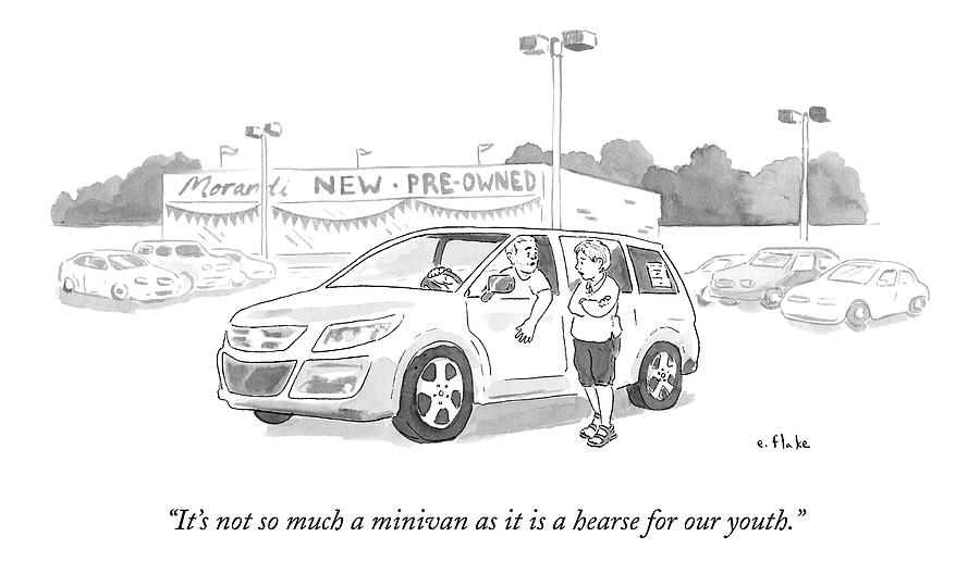 A Man In A Minivan Speaks To A Woman At A Car Drawing by Emily Flake
