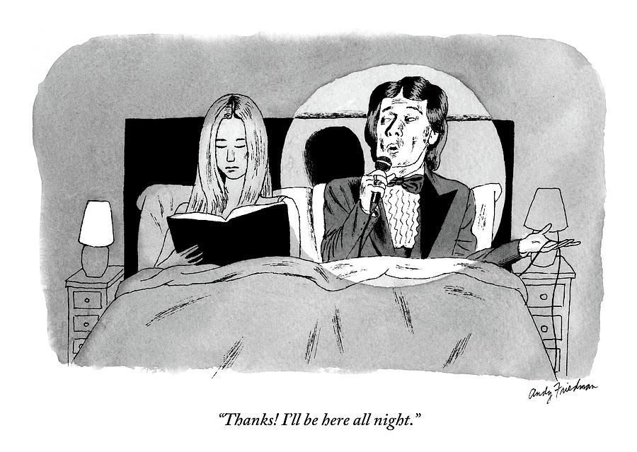 A Man In A Performers Tuxedo Lies In Bed Next Drawing by Andy Friedman