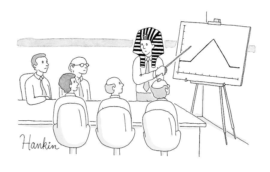 A Man In A Pharaoh Headdress Stands At The Front Drawing by Charlie Hankin