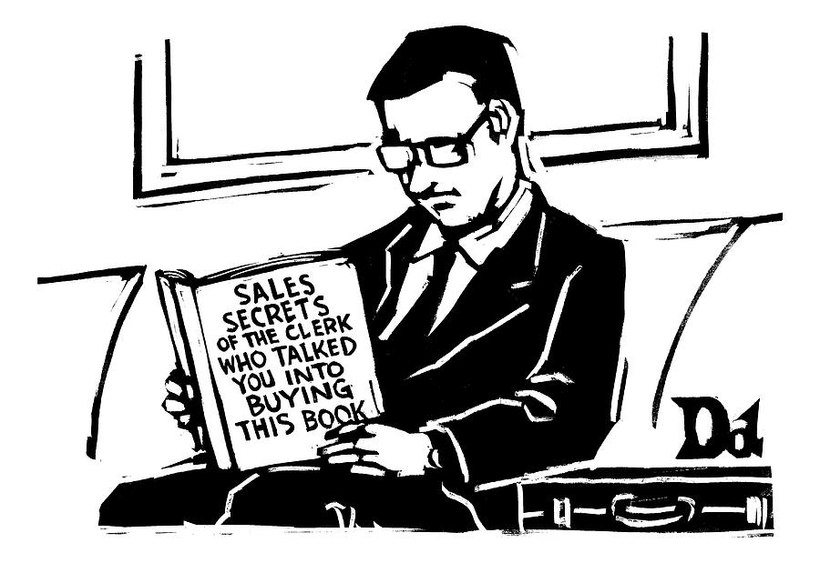 A Man In A Suit Reads A Book With The Title: Drawing by Drew Dernavich