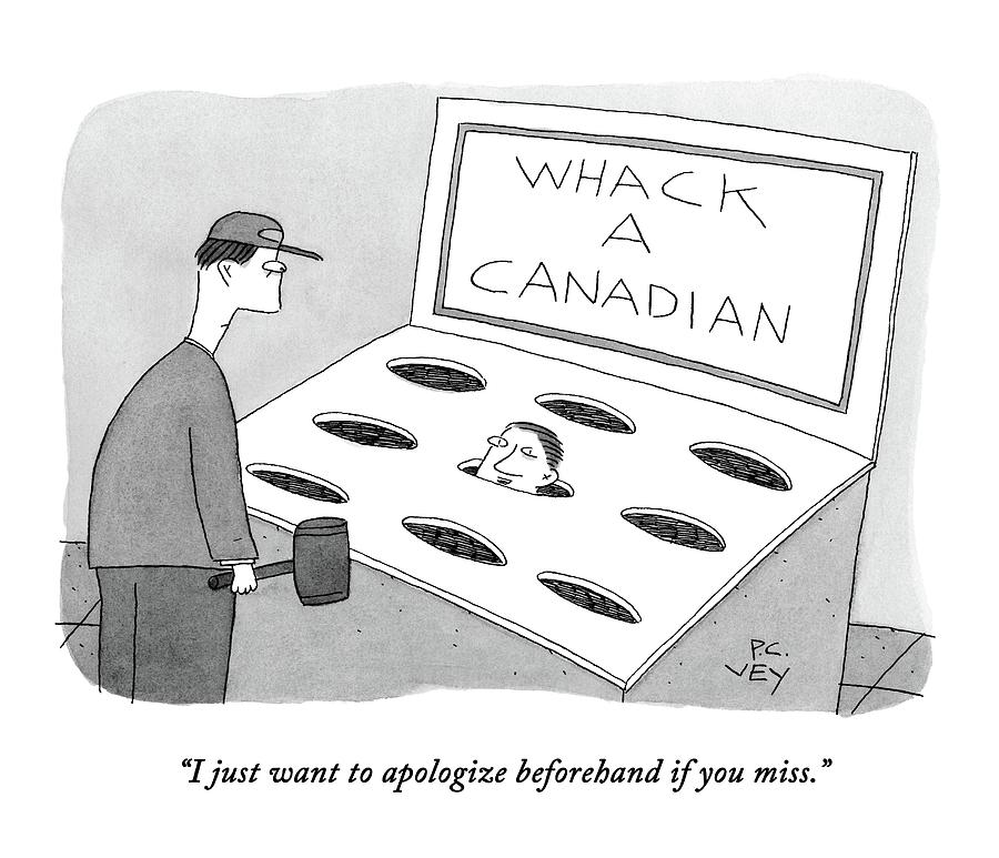A Man In A Whack A Canadian Machine Drawing by Peter C. Vey