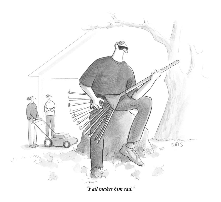A Man In A Yard Holds A Rake As Though Drawing by Julia Suits