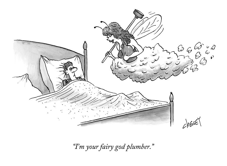 A Man In Bed Sees A Tooth Fairy-like Figure Drawing by Tom ...