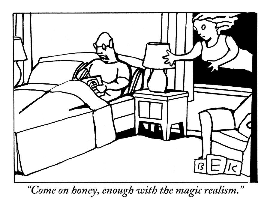 A Man In Bed Speaks To His Wife Who Is Floating Drawing by Bruce Eric Kaplan