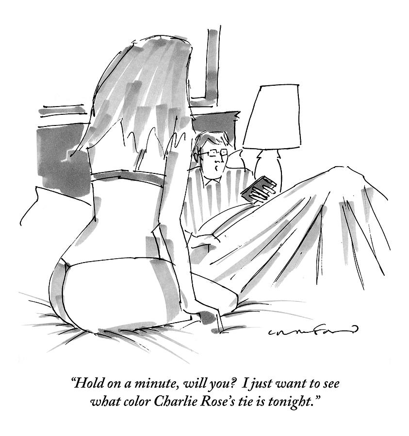 A Man In Bed With Remote Control  In Hand Ignores Drawing by Michael Crawford