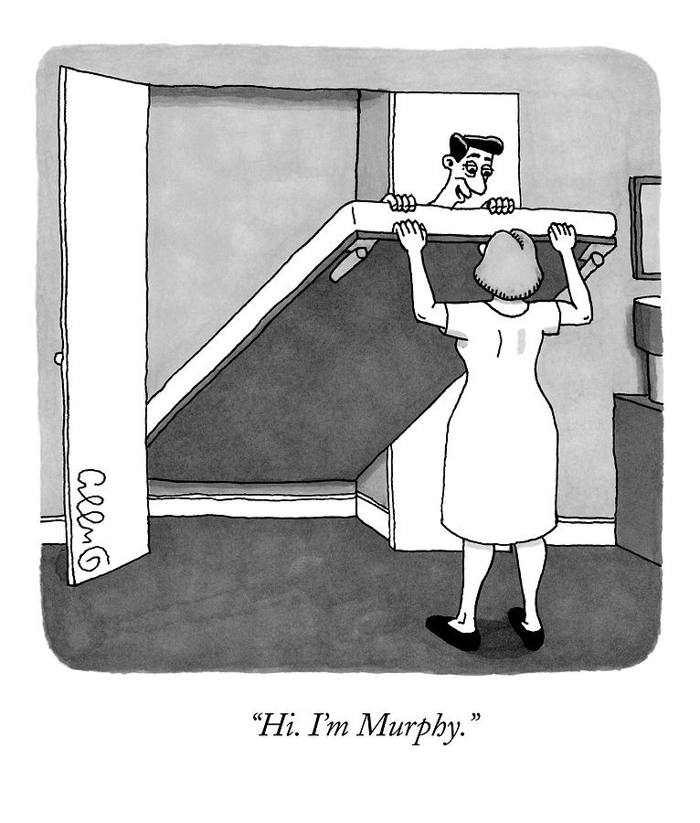 A Man Is Laying On The Murphy Bed That A Woman Drawing by J.C.  Duffy