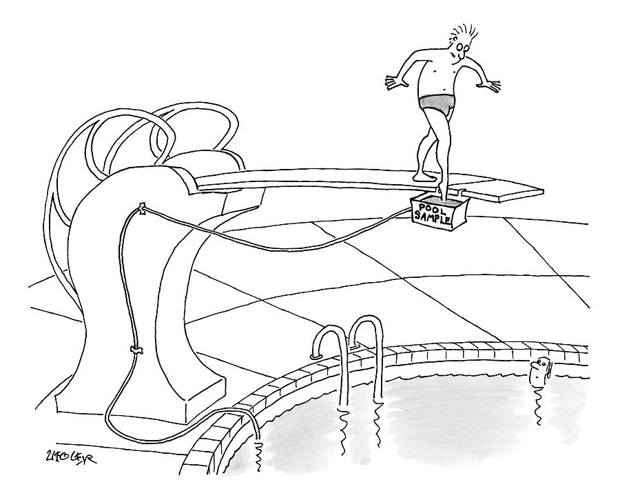 A Man Is On A Diving Board Above A Pool. He Dips Drawing by Jack Ziegler