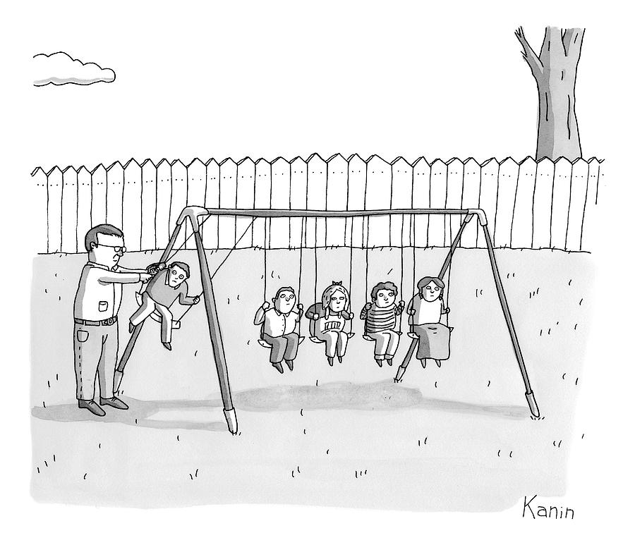 A Man Is Seen Swinging A Group Of Kids Like A Set Drawing by Zachary Kanin
