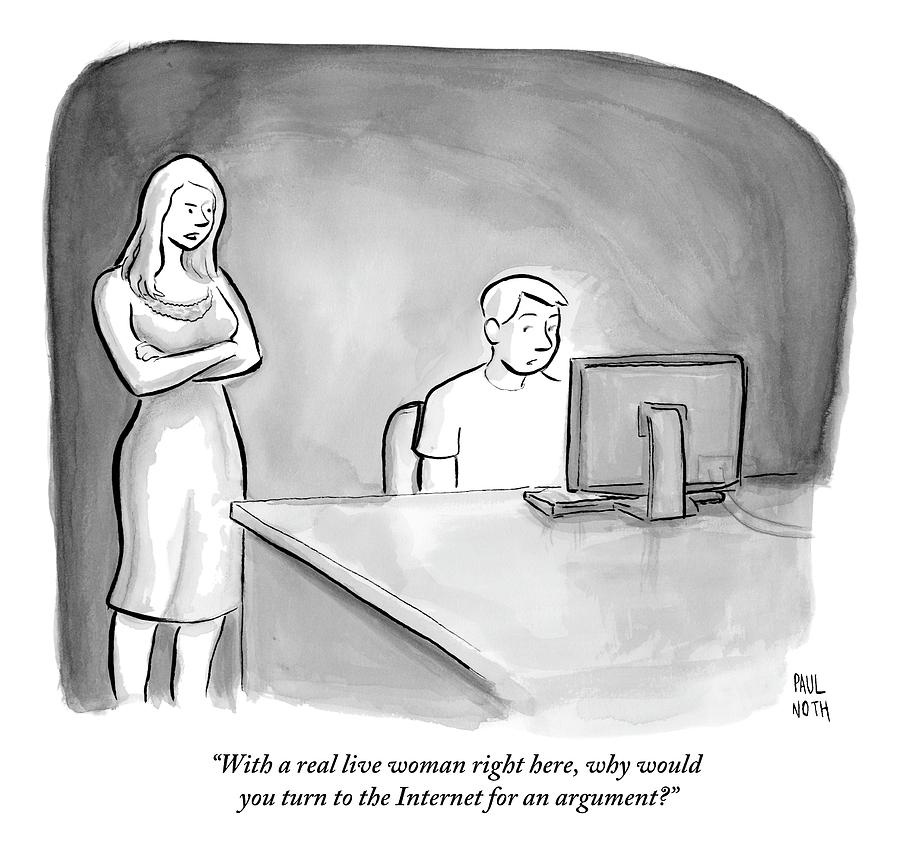 A Man Is Sitting At A Desk Looking At A Computer Drawing by Paul Noth
