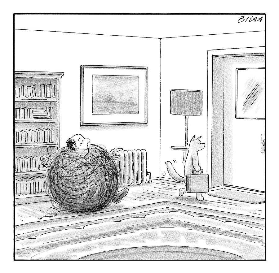 Yarn Drawing - A Man Is Stuck In A Yarn Ball And His Cat Leaves by Harry Bliss