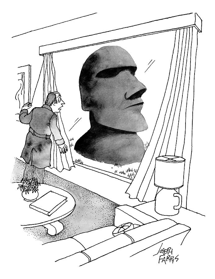 A Man Looks Out His Living Room Window To See An Drawing by Joseph Farris