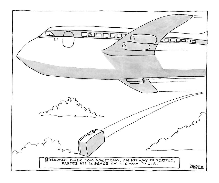 Flying Drawing - A Man Looks Out The Window Of An Airplane by Jack Ziegler