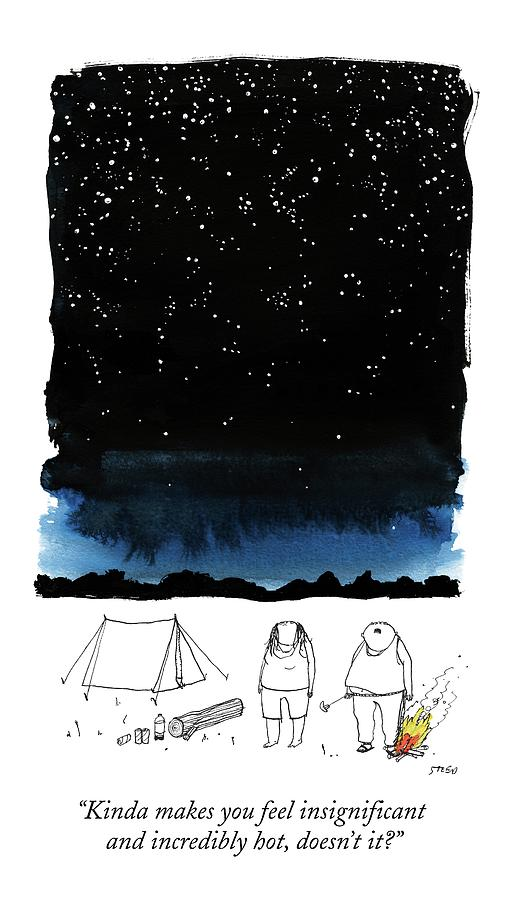A Man Looks Up At The Night Sky Drawing by Edward Steed