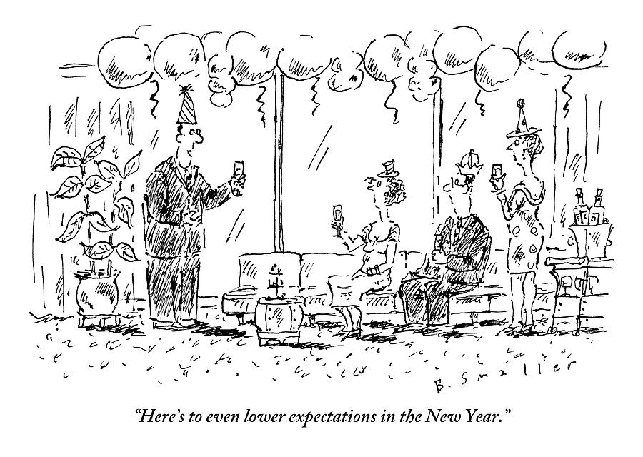 New Years Eve Drawing - A Man Makes A Toast At A New Years Party by Barbara Smaller