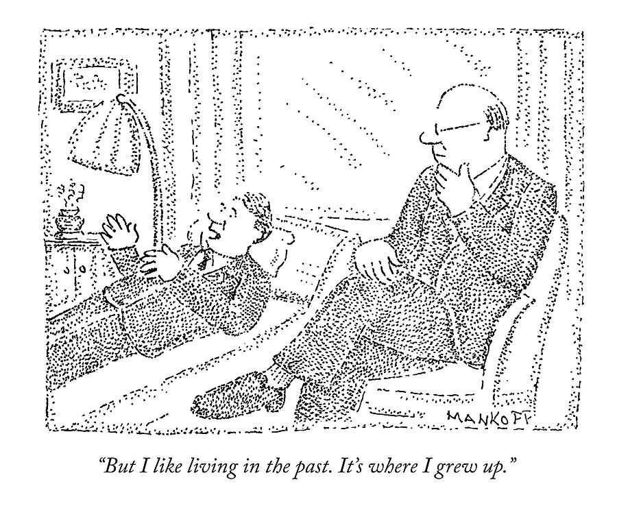 Therapist Drawing - A Man On A Psychoanalyst Couch Says by Robert Mankoff