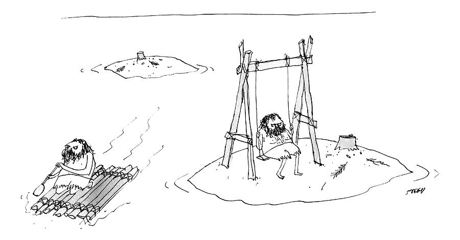 A Man On A Raft Paddles Away From A Desert Island Drawing by Edward Steed