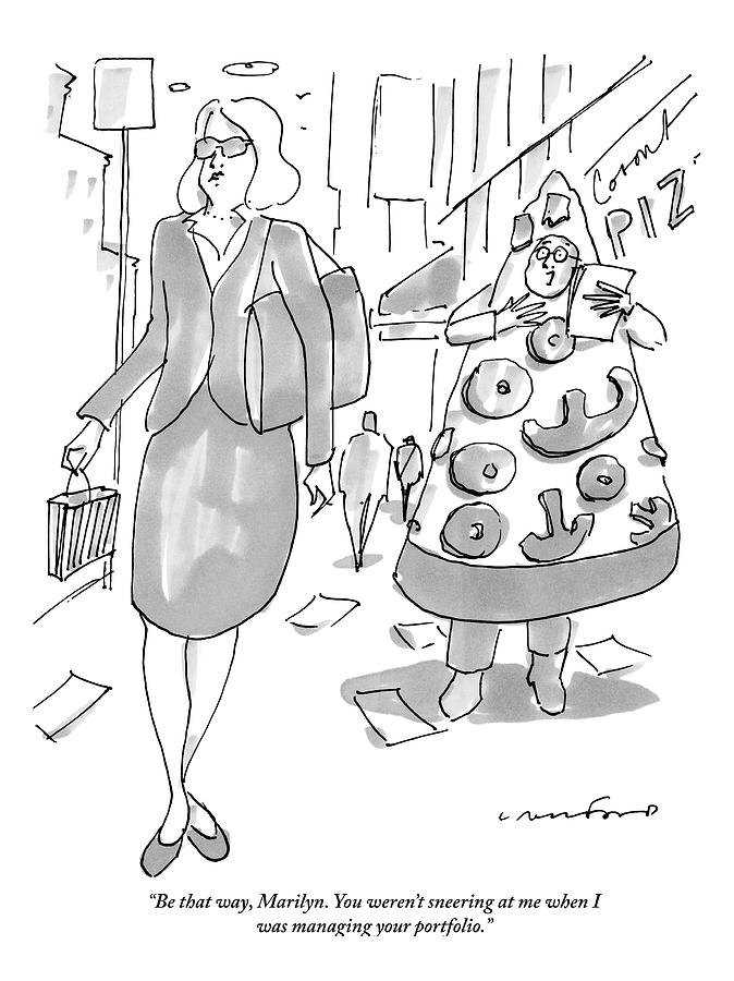 A Man On The Street In A Pizza Costume Yells Drawing by Michael Crawford