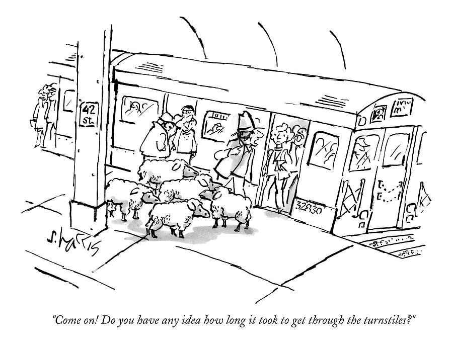 A Man On The Subway Platform With Five Sheep Drawing by Sidney Harris