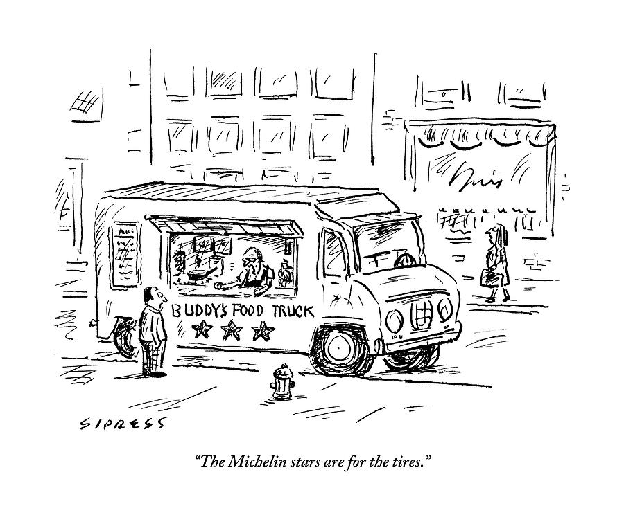 A Man Operating A Food Truck Speaks To A Customer Drawing by David Sipress