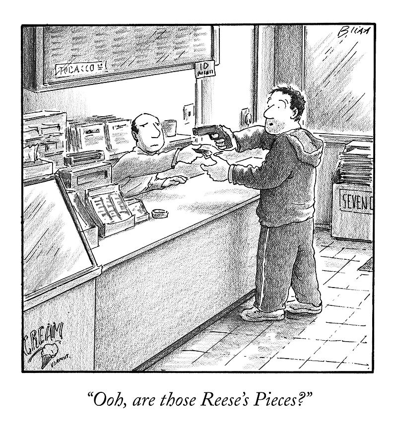 A Man Robs A Convenience Store Drawing by Harry Bliss