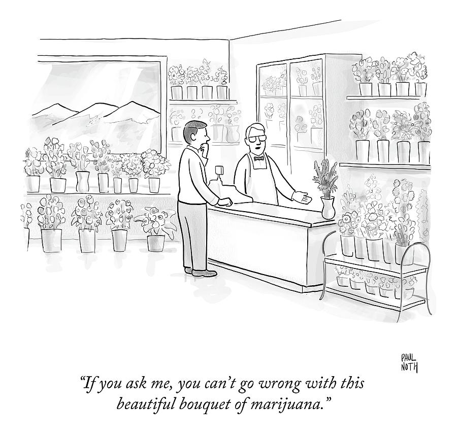 A Man Speaks With An Assistant At A Flower Shop Drawing by Paul Noth