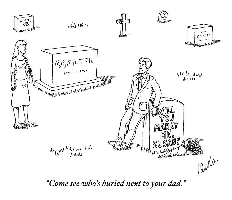 A Man Standing Next To A Headstone That Says Drawing by Eric Lewis