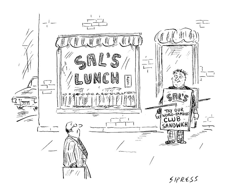 A Man Stands In Front Of A Sandwich Shop Wearing Drawing by David Sipress