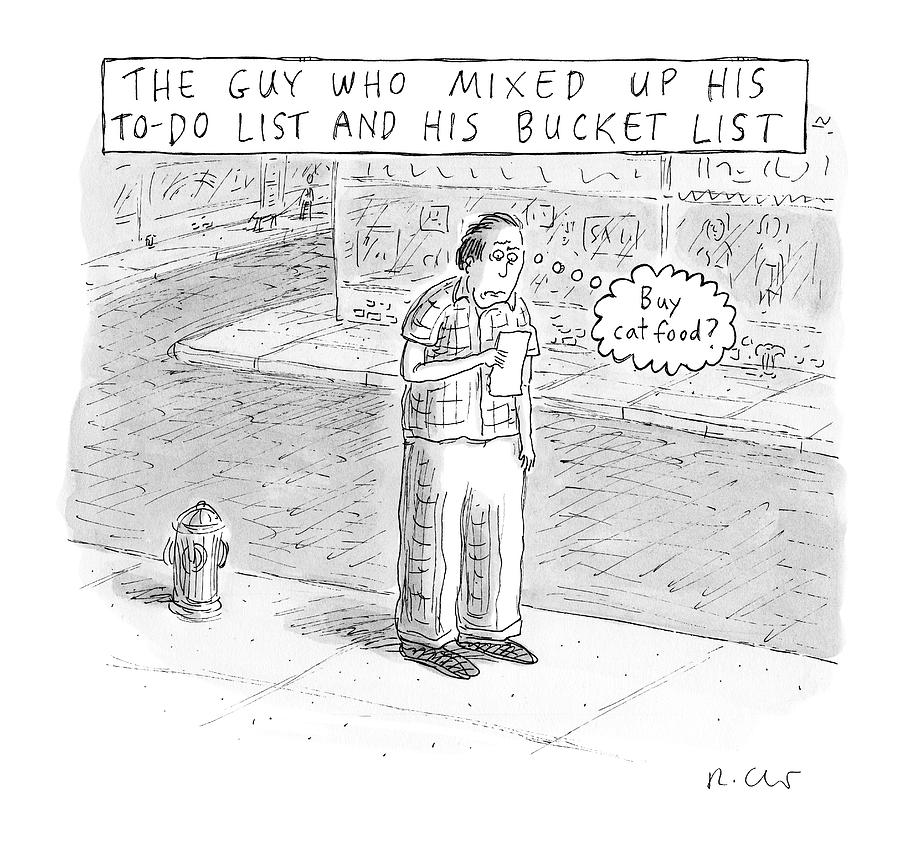A Man Stares At A Piece Of Paper And Thinks Buy Drawing by Roz Chast