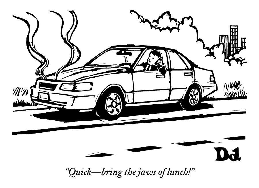 A Man Talks On His Cellphone In A Broken Down Car Drawing by Drew Dernavich