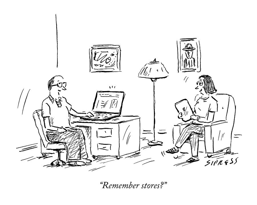 A Man Using A Computer Speaks To A Woman Who Drawing by David Sipress