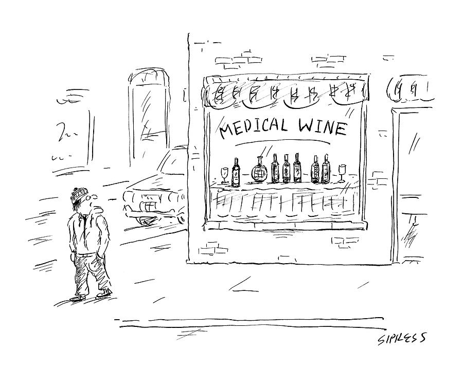 A Man Walks By A Liquor Store With The Sign Drawing by David Sipress