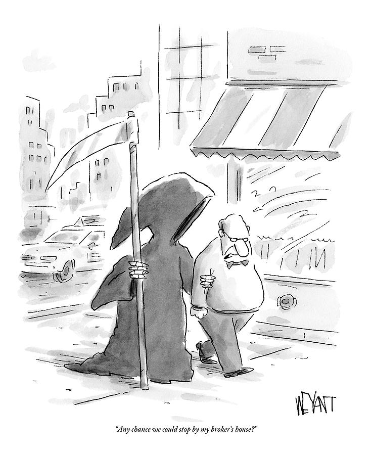 A Man Walks Down The Street With The Grim Reaper Drawing by Christopher Weyant