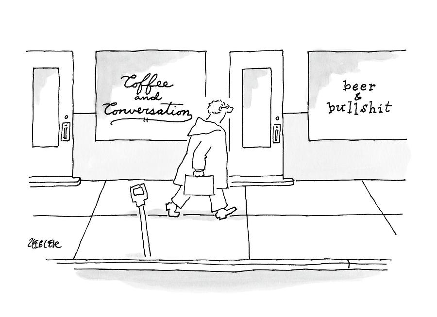 A Man Walks Past Two Shops Drawing by Jack Ziegler