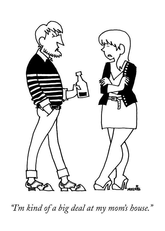 A Man Wearing A Striped Sweater Introduces Drawing by Ariel Molvig