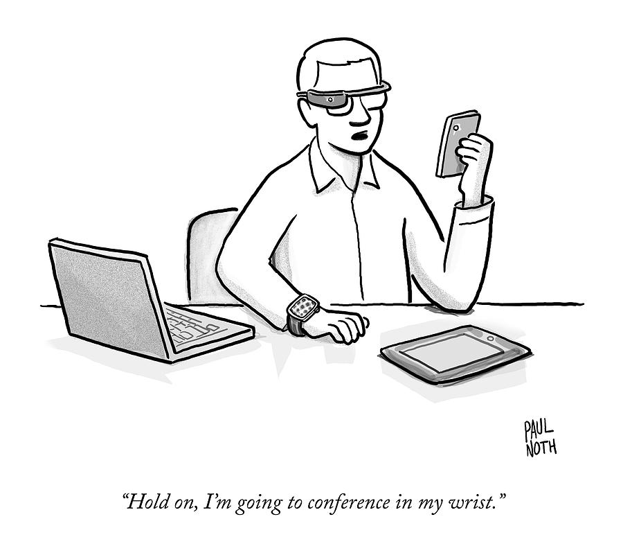 A Man Wearing Google Glasses Drawing by Paul Noth